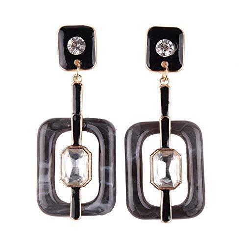 SHUCHANGLE Ladies Square Jewel Earrings Aretes De Moda Ahuecados, Negro