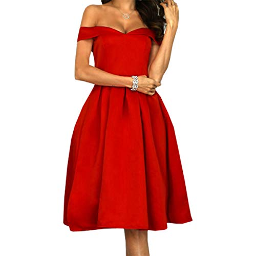 Incredibles Frauen Kostüm - jianghang Incredible 2019 Fashion Frauen Red Word Collar Tube Top Dress High Waist Party Abendkleid (None L Red)