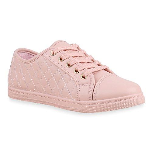 Sneakers Low Damen Lack & Glitzer Turnschuhe Freizeit Schuhe Rosa Total