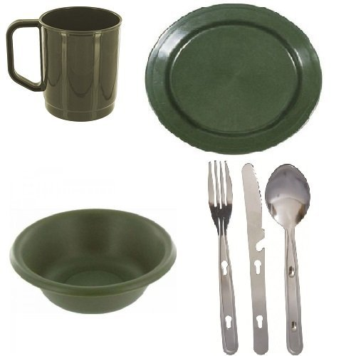 41IEx6TcIfL. SS500  - Highlander 1 Person Camping Picnic Dining Set Plate Mug Bowl and Cutlery Olive Plastic