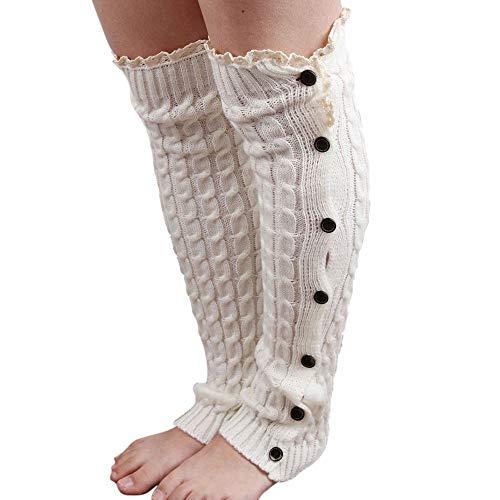 n Lace Trim Button Braid Bein Stricken Warmer Boot hohe Knie Socken Heißer Hohe Qualität Casual Frauen Warme Winter Klassische Stricken Beinlinge Verkaufsförderung ()