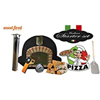 Black Deluxe Extra Corner Wood Fired Pizza Oven Starterkit, Orange Arch, Gold Door, 90cm x 90cm