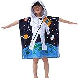 Ymwave Kapuzentuch Kinder 100% Baumwolle Bade-Poncho Badetuch Handtuch mit Kapuze für Jungen und Mädchen Kapuzenhandtuch Kids Cartoon Kapuzen Bademantel, Astronaut, 70x70cm