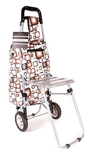 HBY0030-Brown-Motif-Funky-Motif-carr-arrondi--deux-roues-pour-chariot-de-courses-avec-sige-pliable