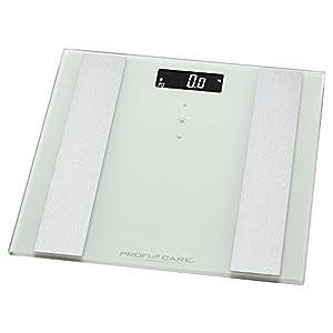 ProfiCare PW 3007 – Báscula baño digital con análisis corporal de 8 funciones diagnóstico, color blanco inox