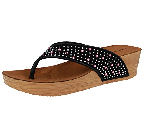 35f09aa79cf Ladies Dunlop Low Wedge Fit Flip Flop Toe Post Crystal Sandals Shoes Size  3-8 (UK 4/EU 37, Black/Pink Gems) - Buy Online in UAE. | Apparel Products  in the ...