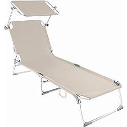TecTake Chaise longue bain de soleil en aluminium pliable avec parasol pare soleil - diverses couleurs au choix - (Beige | no. 401428)