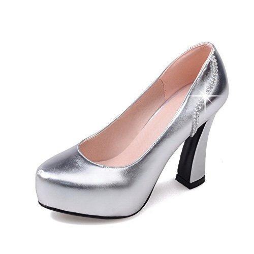 VogueZone009 Femme Tire Pu Cuir Rond à Talon Haut Couleur Unie Chaussures Légeres Argent