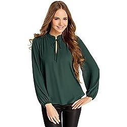 oodji Ultra Mujer Blusa Ancha con Decoración en los Hombros, Verde, ES 34 / XXS