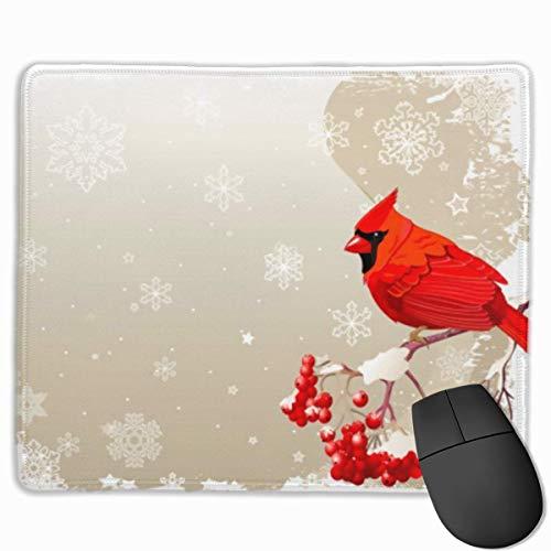 Rote Kardinal-Vogel-Beeren-Schneeflocke-Mausunterlage besonders angefertigt, erstklassige Rechteck-Mausunterlage, rutschfeste Gummi-Spiel-Mausunterlage für Laptop - Kardinäle Polyester