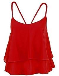 Fantasia Boutique NEUF femmes sans manches mousseline à volants court stratifié JABOT HAUT BRETELLES FEMMES gilet - Rouge, 40
