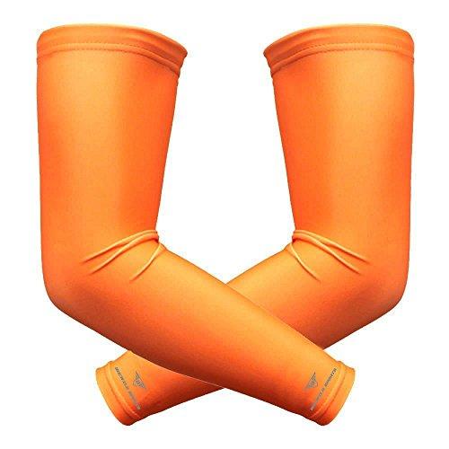 1Paar bucwild Sport Arm Kühlung Sun Schutz Compression Arm Sleeves-Jugend und Erwachsenen Größen-Baseball Basketball Golf Tennis Running, Orange (Basketball-arm-sleeve Orange)