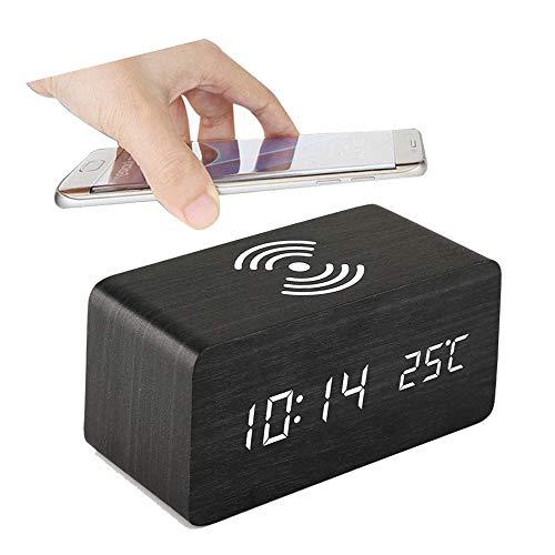 Konesky Despertador de Madera, Reloj de Escritorio LED Electrónico Digital Moderno con Fecha/Temperatura...