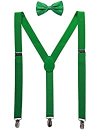sourcingmap Unisex Bow Tie Set Y Shape Adjustable Elastic Shoulder Strap Suspenders