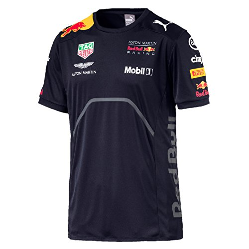 Whybee 2018 Aston Martin Red Bull Racing F1 Formula One Official Puma Clothing avec T-Shirt Polo Veste Sweat, Mens Team T-Shirt Navy, Homme (L) Poitrine 104-108 cm