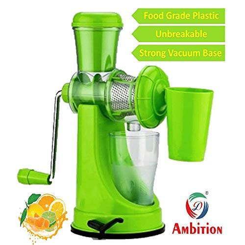 Slings Fruit and Vegetable Juicer with Steel Handle and Waste Collector (Green)