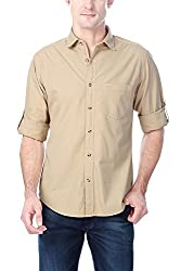 Peter England Mens Casual Shirt (8907087888762_NSS20028_40_Beige and Acru)