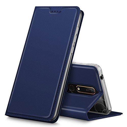 Nokia 6 2018 Hülle, iBetter Nokia 6 2018 Flip Bookstyle Kompletter Hüllen Mit Magnetverschluss und Standfunktion Tasche Etui Hüllen Schutzhülle für Nokia 6 Dual SIM Smartphone VERSION 2018(Blau)