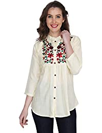 Stylistico Women's Embroidered Rayon Cotton Flared Tops