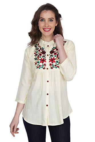 Stylistico Women's Embroidered Rayon Cotton Flared Tops (Off-White, Large)