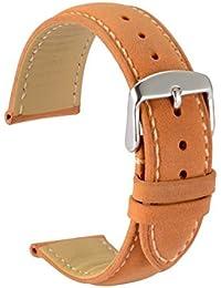 wocci reloj bandas reemplazar marrón correa reloj de piel Vintage con Hebilla de plata pines de metal para hombres mujeres