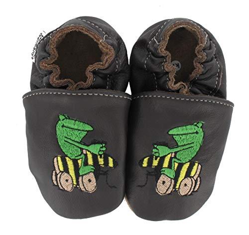 HOBEA-Germany Krabbelschuhe Design: Janosch Tigerente mit Frosch, Größe Schuhe:24/25 (24-30 Mon), Uni Schuhe:braun