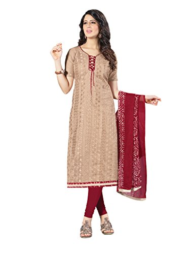 Applecreation Women's Chanderi Cotton Salwar Kameez (Light Brown, 21SPRK2116)