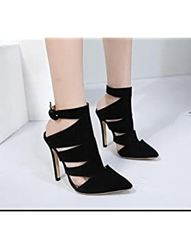 KHSKX-El Otoño Y El Invierno Negro 8.5Cm Solo Zapatos Sharp Ahuecado Hebilla De Cinturon Tacones Altos Botas De...