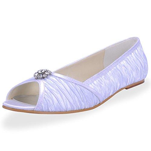 Elegantpark 1202D Raso Peep toe Diamant Tacco Basso Scarpe da sposa Ballo Partito da Sera Bianco
