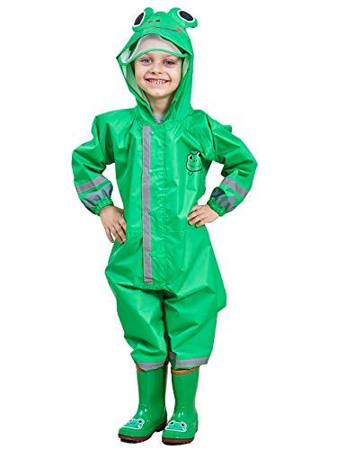 DUSISHIDAN Kids Raincoat Boys Girls Waterproof Coat Cute Cartoon One Piece Raincoat Zipper Hooded PVC Rainwear Rainsuit Kids