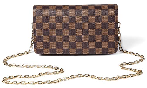 Daisy Rose Checkered Cross Body Bag - Rfid Blocking mit Kreditkarte Slots Clutch -Pu Vegan Leder Klein Braun - Rfid Handtasche Crossbody
