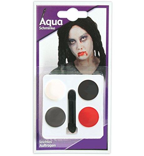 AQUA Schminkset Schminkfarben auf Wasserbasis Gesichtsfarbe 4 Tiegel Aqua Schminke inkl. Applikator gute Deckkraft Gesichtsschminke Farbenfroh (Gute Themen Kostüme Zombie)