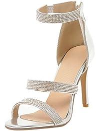 9c2ae057659026 Artfaerie Damen Stiletto High Heels Offen Sandalen mit Strass und Hinten  Reißverschluss Modern Party…