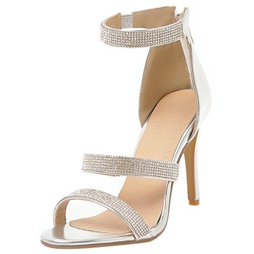 Artfaerie Damen Open Toe High Heels Sandalen Stiletto Pumps mit Strass und Hinten Reißverschluss Modern Sommer Schuhe