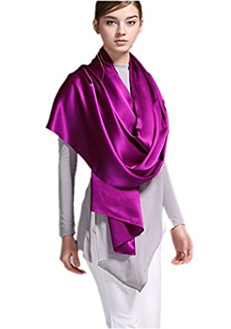 Prettystern - 200 cm plain long heavy Crepe Satin pure SILK scarf for evening dress or business - purple
