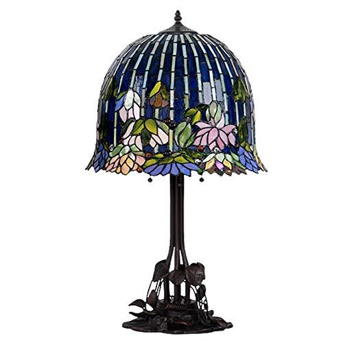 (16 Zoll) Tischlampe Tiffany Stil europäischen Retro Kunst kreative Wasser Lilie Glas Tischlampe Wohnzimmer Lampe Schlafzimmer Nachttisch Lampe neue Tischlampe