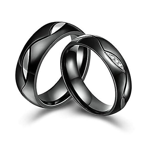 Aooaz 6mm Ring für Damen & Herren Hochzeit Ring Edelstahl Verlobungsringe Trauringe Schwarz Ring Damen Größe 52 (16.6) & Herren Größe 62 (19.7)