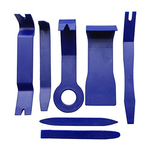 WINOMO Demontage Werkzeug Auto Zierleisten Verkleidung Türverkleidungs Trim Entferner Werkzeuge Set 7 Pcs mit 1 Kraft-Box (Blau) Auto Werkzeug Box Set