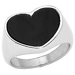 Idea Regalo - Beloved Anello da mignolo da donna, ENAMELLED HEART in acciaio inossidabile - Misura 11 L, anallergico, alta qualità, con cuore smaltato nero