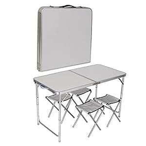 4 chair folding table set outdoor picnic camping garden