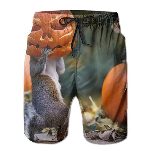 akingstore Halloween Eichhörnchen Kürbis Maske Herren Sommer Badehose 3D Grafik Quick Dry Funny Beach Board Shorts mit Mesh-Futter