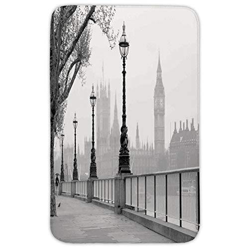 WYICPLO Rectangular Area Rug Mat Rug,London,Big Ben from Walking Way by Thames River with Lanterns Under The Rain Image,Grey Black White,Home Decor Mat with Non Slip Backing,31.5 X 19.68 Inch