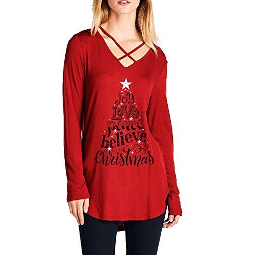 Weihnachtspullover Damen Weihnachten Hoodie Christmas Weihnachtsbaum Gedruckt Pulli Sweatshirt...