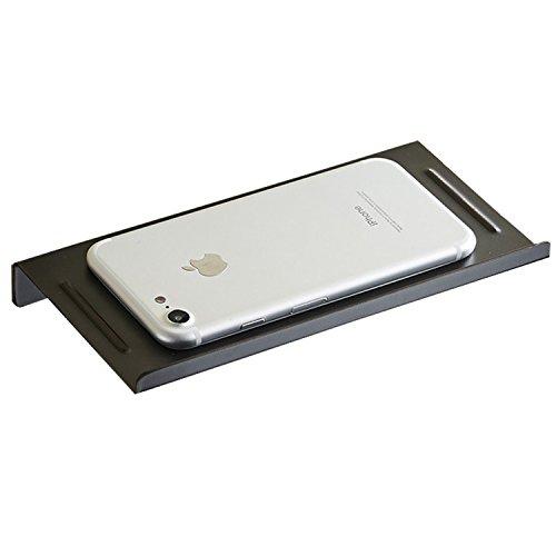 Wellsum wandmontierter Edelstahl-Telefonhalter fürs Telefon, Rutschfest und Chrom poliert (Mattschwarz) -