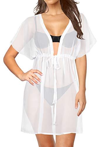 LA LEELA bloße Chiffon Feste Plus und eine Größe vertuschen Kaftan Geister Weiß Badebekleidung Strand-Bikini-Vertuschung Tunika StrabdKleid Kaftan Cover up -
