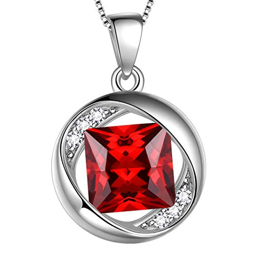 AuroraTears Januar Birthstone Halskette 925 Sterling Silber Roter Granat Geburtsstein Anhänger Schmuck Geschenke für Frauen und Mädchen DP0029J
