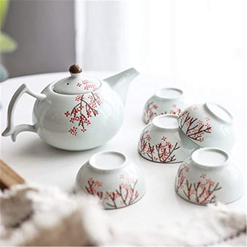 Tee-Set Luxus Rosa Pflaumenglasur Japanische Teekanne Mit Griff Und Teeservice 5 Erwachsene Schöne Verpackung Geschenkbox Ausgezeichnete Dekoration Asian Geeignet For Tee Oder Kaffee Keramik Teekanne