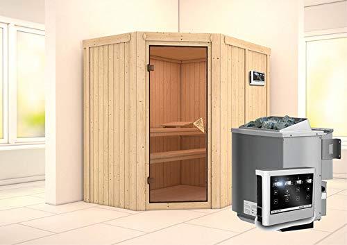 Carin – Karibu Sauna inkl. 9-kW-Bioofen – ohne Dachkranz –