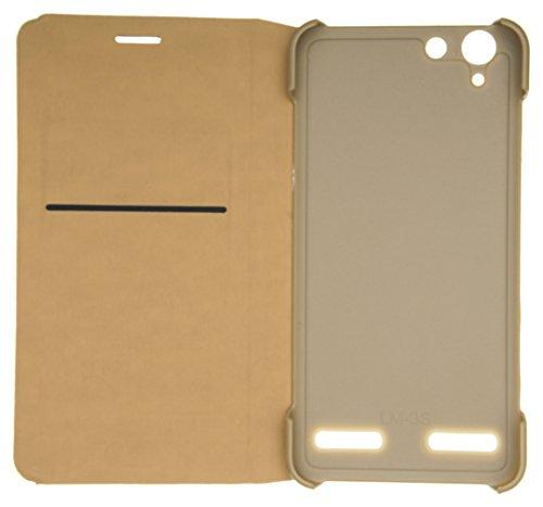 eCosmos flip CoverLenv K5+GD Premium Impact Resistant [1 Card Slot][Cash/Bills Slot][Anti-Slip Design][Drop Protection][Ultra Slim] Leather Flip Cover For Lenovo Vibe K5 / K5 + Plus – Gold