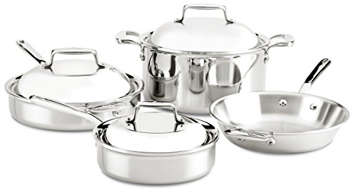 All-Clad SD70007 D7 18/10 Stainless Steel 7-Ply Bonded Construction Dishwasher Safe Oven Safe Cookware Set, 7-Piece, Silver